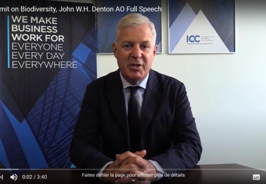 Découvrez le message de John Denton, Sec.gen. d'ICC, lors du sommet des Nations Unies sur la biodiversité