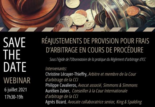 Webinar : Réajustements de provision pour frais d'arbitrage en cours de procédure