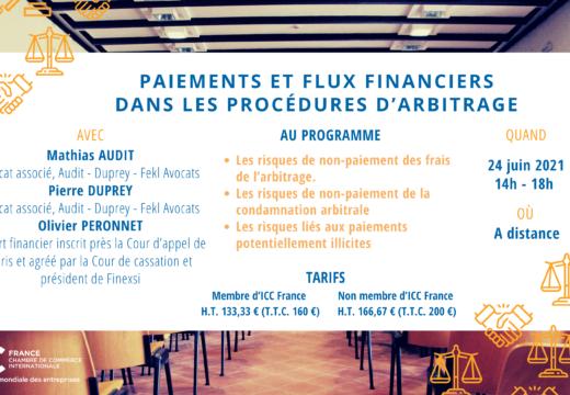[Formation] Les paiements et flux financiers dans les procédures d'arbitrage